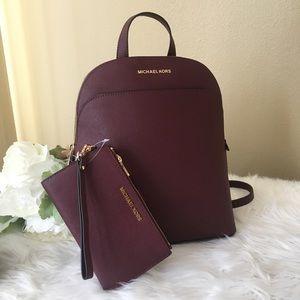 Michael Kors large Emmy Merlot Backpack & wallet